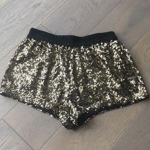 Gold sequin shorts NWOT